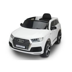 Electric Ride on Car Audi Q7 Quattro New, White, Original Licenced, Battery Powered, Opening Doors, Single Seat, 2x Engine, 12 V Battery, 2.4 Ghz remote control, Soft EVA wheels, Smooth start