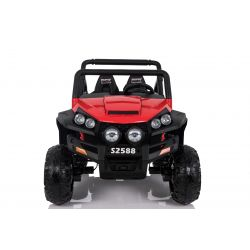 Electric Ride-On Toy Car RSX Red - 2.4Ghz, 24V, 4 X MOTOR, remote control, two-seats in leather, Soft EVA wheels, FM Radio, Bluetooth