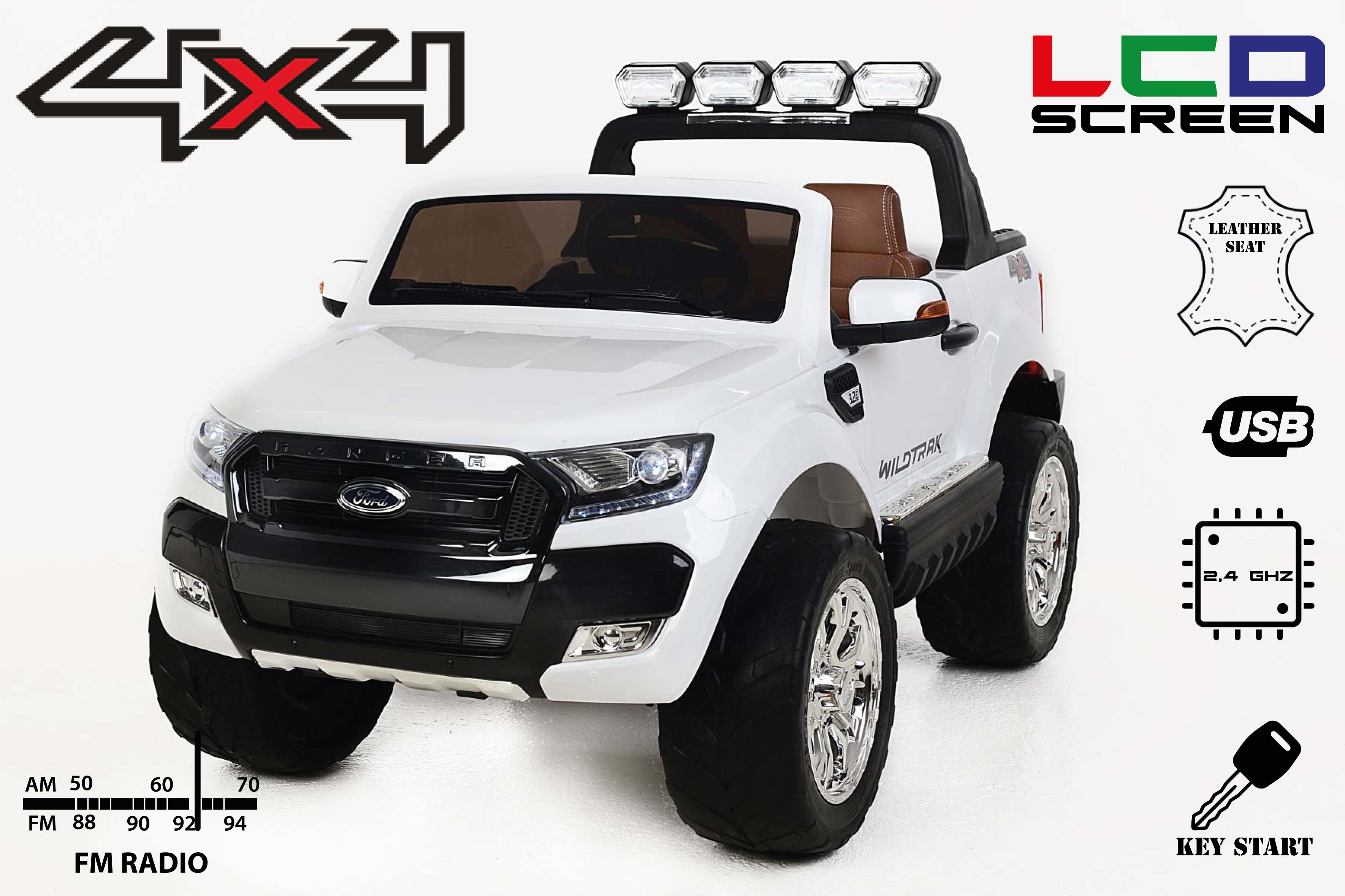 Electric Ride-On Toy Car Ford Ranger Wildtrak 4X4 LCD Luxury, LCD ...